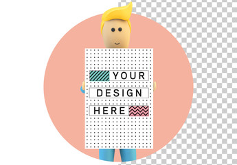 Cartoon-Style Mannequin Holding Poster Mockup