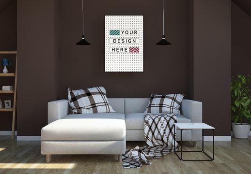 Vertical Frame in Modern Living Room Mockup