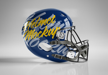 Isolated American Football Helmet on Grey Background Mockup