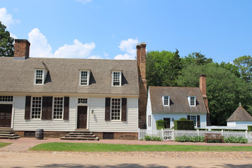 Colonial style houses in a street in the summer, Virginia, USA
