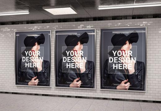 3 Vertical Subway Billboards Mockup