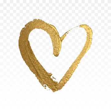 Gold glitter heart isolated on white.