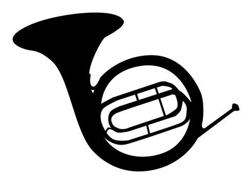 Silhouette noire de cor