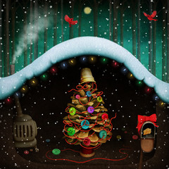 Fantasy winter holiday greeting card with Christmas Tree with buttons decoration in Mouse hole.