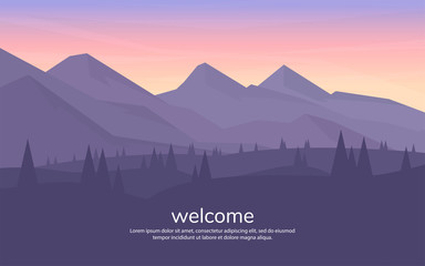 Tuinposter Aubergine Vector minimalistic landscape. Mountains and woods. Polygon concept. flat style Abstract background. Panoramic wallpapers