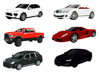 Cars color icon set, auto symbols collection, vector sketches, logo illustrations, automobile signs realistic flat pictograms package isolated on white background, eps 10.