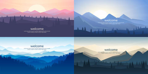 Poster Night blue A set of mountain vector landscapes in a flat style. Natural wallpapers are a minimalist, polygonal concept. Sunrise, misty terrain with slopes, mountains near the forest