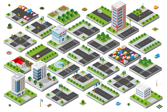 Isometric set 3d module block district part of the city with a street road from the urban infrastructure of vector architecture. Modern white illustration for game design and business background