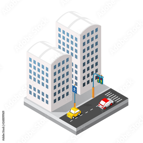 Isometric 3d module block district part of the city with a street
