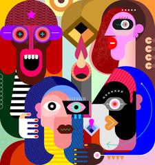 Four People Portraits graphic illustration
