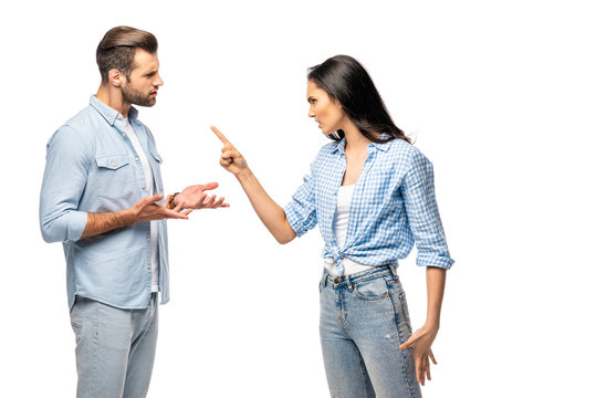 angry woman pointing with finger at man Isolated On White