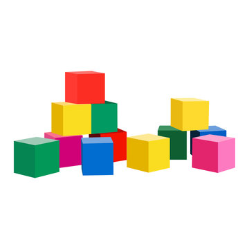 Toy blocks vector icon on a white background. Baby toys illustration isolated on white. Cubes realistic style design, designed for web and app. Eps 10.