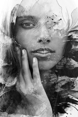 Paintography. Double Exposure portrait of a young beautiful woman combined with hand drawn ink painting created using unique technique. Black and white