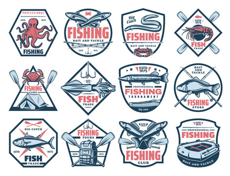 Fishing icons, fish and seafood catch tackles