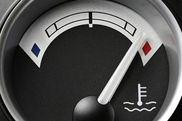 temperature gauge in truck dashboard - hot