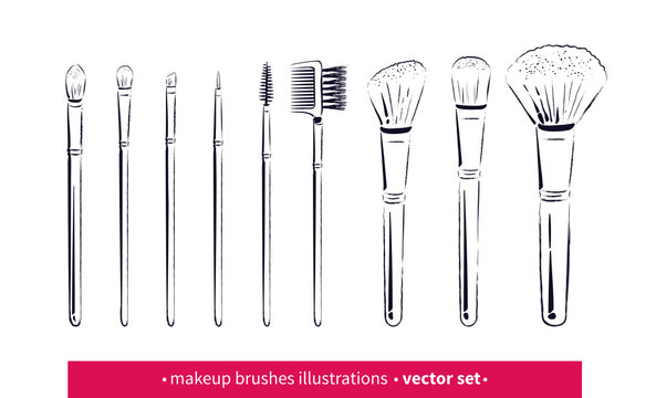 Collection of line art makeup brushes kit