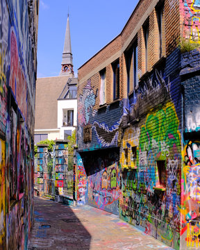 Graffiti Street, Ghent, Belgium, Europe