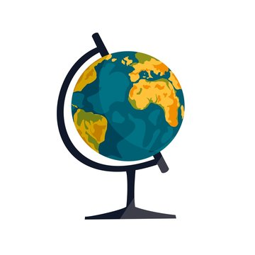 school globe on stand on white background