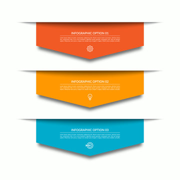 Infographic template with 3 downward colorful paper arrows. Can be used for diagram, chart, web design.
