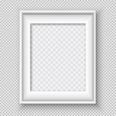 White rectangular paper or plastic frame with soft shadow for text or picture is on squared black background