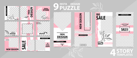 Trendy editable template for social networks stories and posts, vector illustration. Fototapete