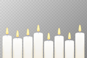 Realistic burning candle. Transparency grid. Vector stock illustration.