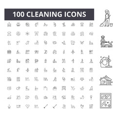Cleaning line icons, signs, vector set, outline concept illustration