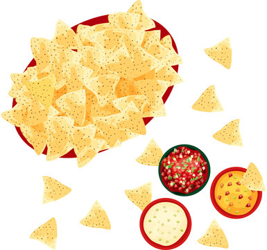 Basket of Tortilla Corn Chips with Salsa, Queso, and Cheese Dip on a white background