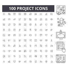 Project line icons, signs, vector set, outline concept illustration