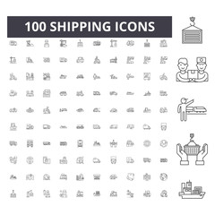 Shipping line icons, signs, vector set, outline concept illustration