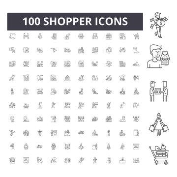 Shopper line icons, signs, vector set, outline concept illustration
