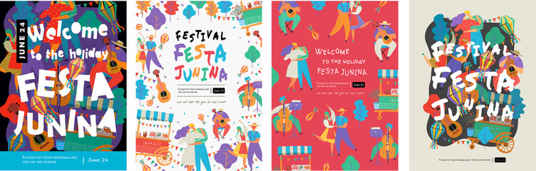 Festa Junina, Vector illustrations for poster, abstract banner, background or card for the brazilian holiday, festival, party and event, drawings of dancing cheerful people, musicians and shops