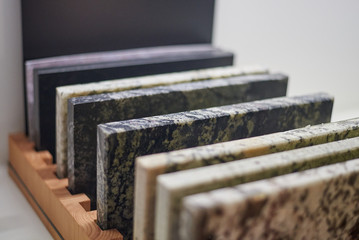 Collection of tiles made of different types of stone