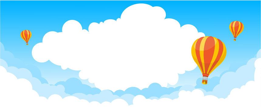 fly across the blue sky - air balloon