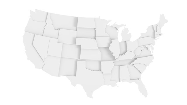 United States of America gray 3D map