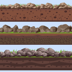 Printed roller blinds Deep brown Soil Seamless layers ground layer. Stones and grass on dirts. Vector