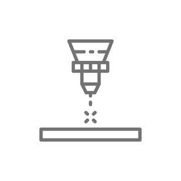 Laser cutting machine, laser engraving line icon.