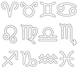 Set of Astrological Signs Icons with Outlined Shapes