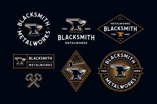 Blacksmith Logo Set Blue Background