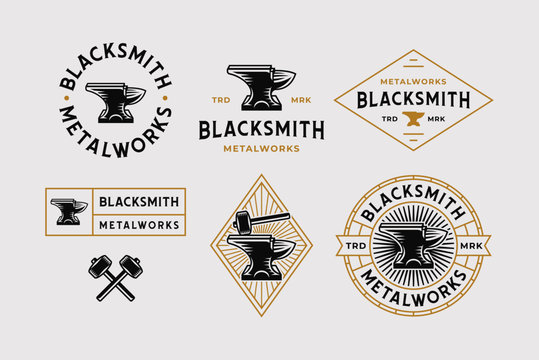 Blacksmith Logo Set White Background