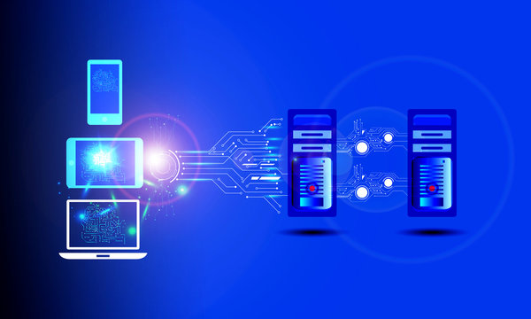 Enterprise application concept, illustrates integration of different types of enterprise systems, applications connecting through different channel like mobile, laptop, web application