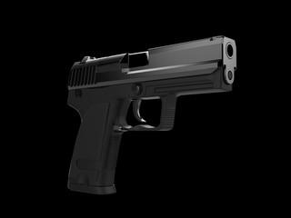 Small and compact modern handgun - black steel finish