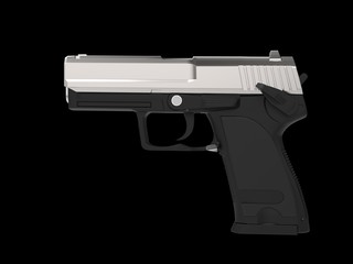 Small and compact modern handgun - chrome top part