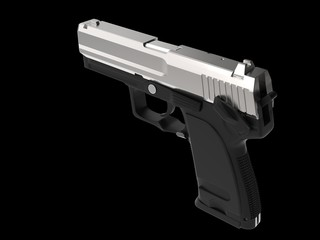 Small and compact modern handgun - chrome - top down view