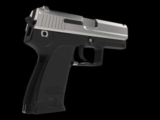 Small and compact modern handgun - chrome - hand grip closeup shot