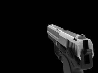 Small and compact modern handgun - chrome - right hand first person view