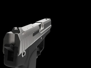 Small and compact modern handgun - chrome - left hand first person view
