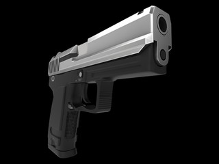Small and compact modern handgun - chrome - closeup shot