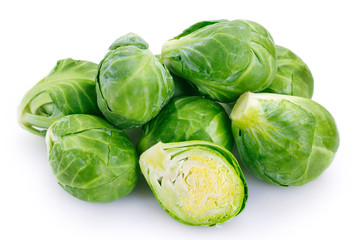 Brussels sprouts on white background Fotobehang