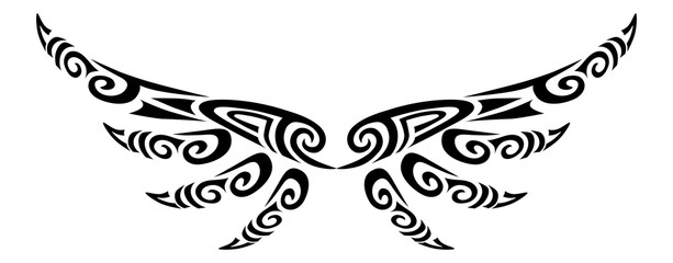 Angel wings flying tattoo tribal stylised maori koru design